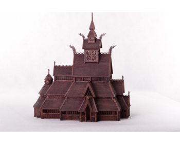 Dusek Norwegian Stave Church Gol Trémódel - D010
